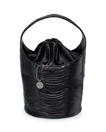 Miranda Ruched Leather Hobo Bag, Black
