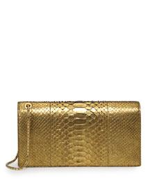 Metallic Python Wristlet Clutch Bag, Antique Gold