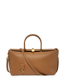 India Medium Leather Satchel Bag, Biscuit