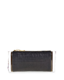 Soft Lara Raffia Clutch Bag, Black