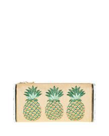 Lara Raffia Pineapple Clutch Bag, Beige