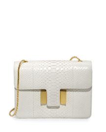 Sienna Medium Python T-Buckle Shoulder Bag, White