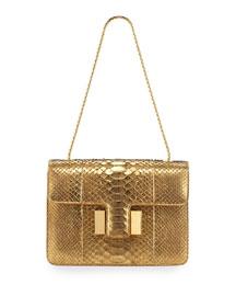 Sienna Medium Python Shoulder Bag, Gold