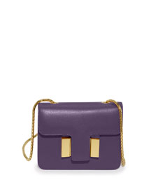 Sienna Small Leather Shoulder Bag, Purple