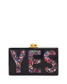 Jean Glittered Yes Box Clutch, Black
