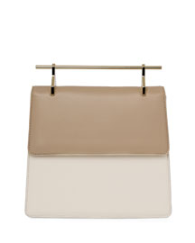 La Collectionneuse Leather Satchel Bag, Sand/Ivory/Gray