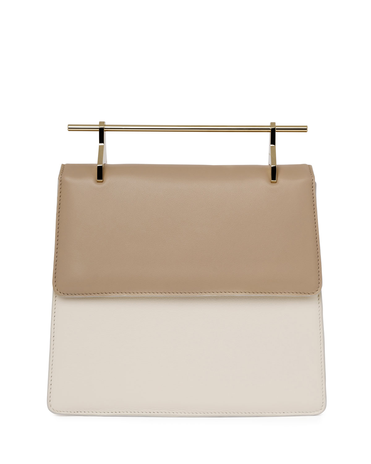 M2Malletier La Collectionneuse Leather Satchel Bag, Sand/Ivory/Gray, Brown/Ivory/Grey