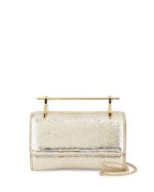 Fabricca Mini Metallic Textured Satchel Bag, Gold