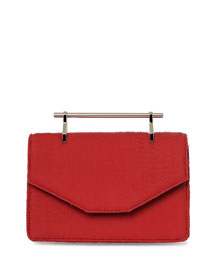Indre Textured Leather Satchel Bag, Red Ischia
