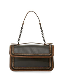 Flap-Top Leather Shoulder Bag w/Snakeskin Trim, Gray