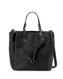 Woven Intrecciato Pleated Tote Bag, Nero