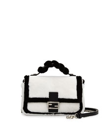 Baguette Micro Double-Sided Mink Fur & Snakeskin Bag, White/Black