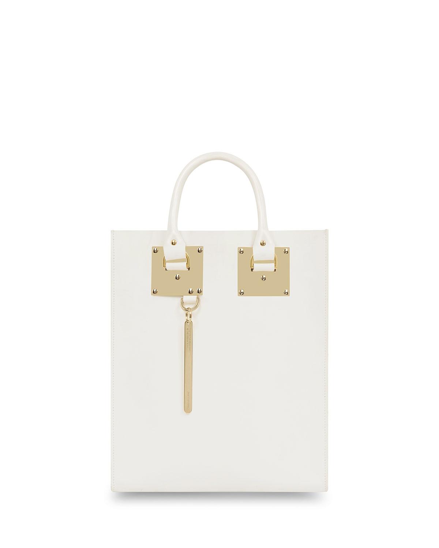 Sophie Hulme Mini Albion North-South Tote Bag, White