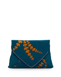 Lilly Jacquard Envelope Clutch Bag, Petrol
