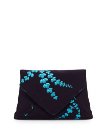 Lilly Jacquard Envelope Clutch Bag, Navy