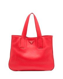 Vitello Daino Leather Tote Bag, Lacca
