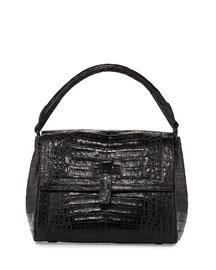 Top Handle Crocodile Shoulder Bag, Black