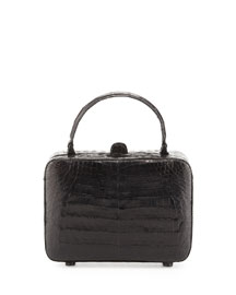 Crocodile Box Crossbody Bag, Black Shiny