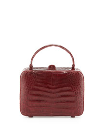 Crocodile Box Crossbody Bag, Red Shiny