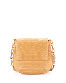 Crocodile Shoulder Saddle Bag, Beige