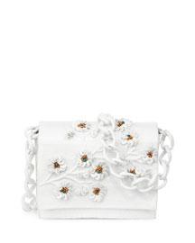 Flower-Embellished Mini Chain Crocodile Crossbody Bag, White/Copper