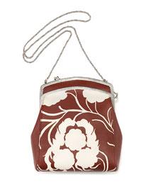 Jarnette Floral-Print Leather Shoulder Bag, Sienna/White