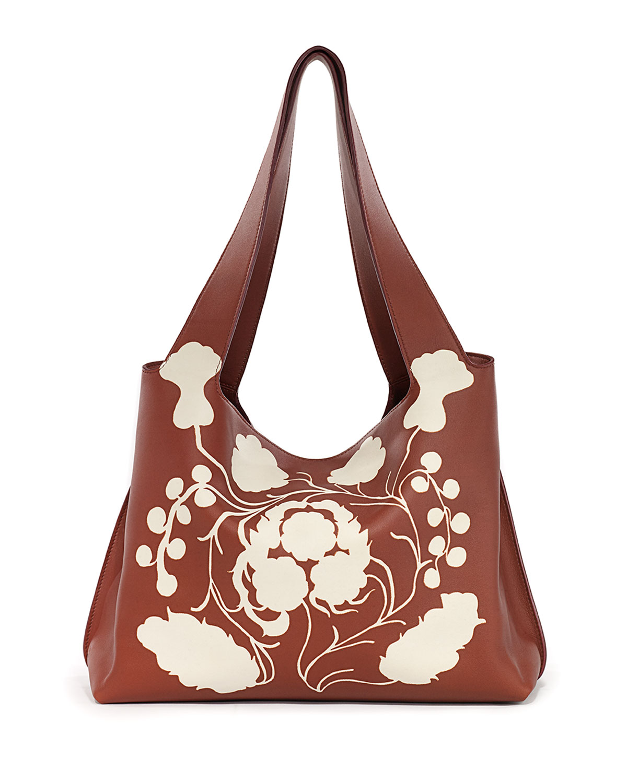 The Row Duplex Printed Leather Shoulder Bag, Sienna/White, Sienna/White Ans