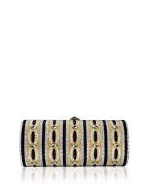 Clark Cylinder Crystal Clutch Bag, Champagne/Multi