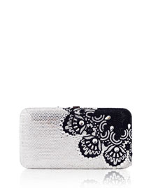Quyincy Smooth Rectangle Crystal Lace Clutch Bag, Jet
