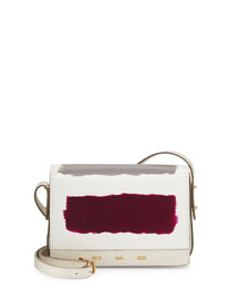 Hand-Painted Leather Flap-Top Bag, Coconut