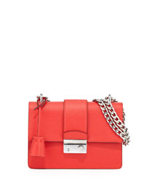 New Chain Saffiano Shoulder Bag, Red