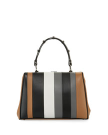 Striped Leather Arcade Satchel Bag, Multi