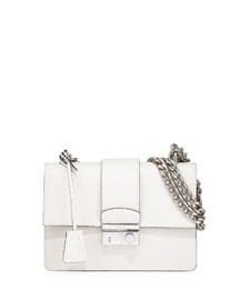New Chain Saffiano Shoulder Bag, Talco