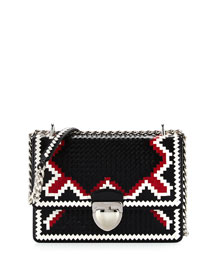 Woven Madras-Pattern Shoulder Bag, Black/White/Fire (Nero+Bianco+Fuoco)