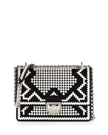 Woven Madras-Pattern Shoulder Bag, Black/White (Nero+Bianco)