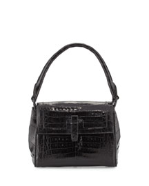 Shiny Crocodile Medium Flap-Top Bag, Black