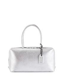 Samantha Medium Metallic Leather Tote Bag, Silver