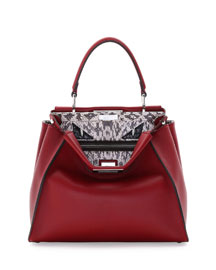 Peekaboo Monster Eyes Snakeskin Satchel Bag, Red
