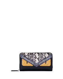 Snakeskin Monster Face Zip Wallet, Black/Sunflower