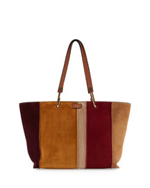 Keri Medium Striped Suede Tote Bag, Caramel