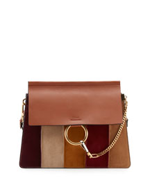 Faye Patchwork Leather Shoulder Bag, Caramel