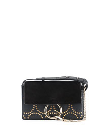 Faye Small Studded Circles Shoulder Bag, Black