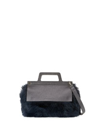 Flap-Top Shearling Fur Crossbody Bag, Navy