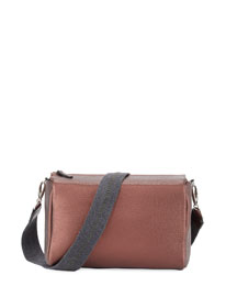 Pebbled Leather Crossbody Bag, Bordeaux