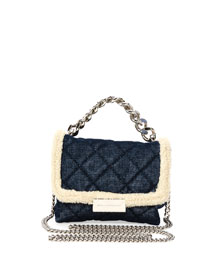 Small Quilted Denim Crossbody Bag, Blue