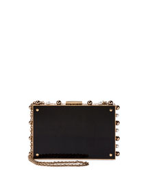 Studded Leather Box Clutch Bag, Gold