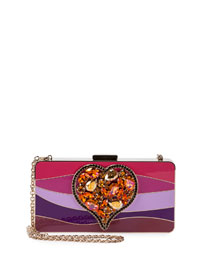 Colorblock Enamel Heart Clutch Bag, Pink