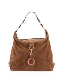 Large Nubuck Leather Hobo Bag, Dark Beige