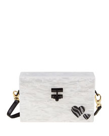 Small Trunk Zebra Hearts Clutch Bag, White