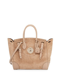Soft Ricky 33 Suede Satchel Bag, Taupe